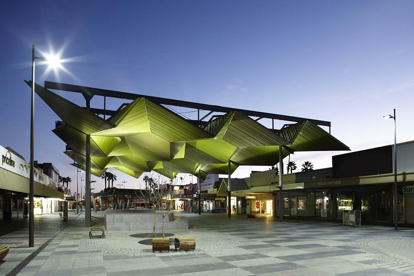 Inverted landscape pavilion langtree mall mildura for Residential landscape architects melbourne